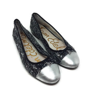 1b0cc602263e37 Sam Edelman Sara Black Silver Tweed Cap Toe Flats